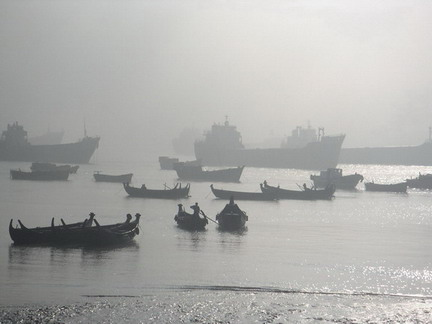 Khulna port in the fog