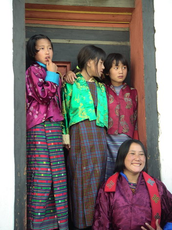 Young girls at tsechu